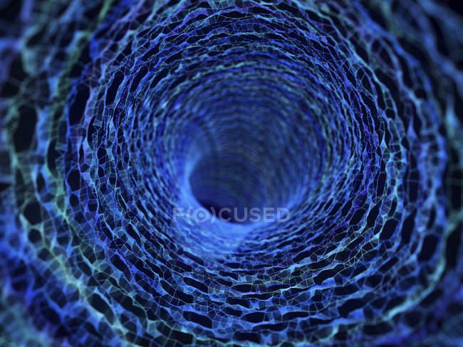 Ilustração da urdidura abstrata tecnológica do túnel do plexo . — Fotografia de Stock