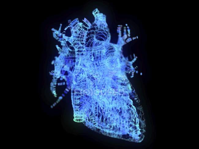Illustration of abstract plexus heart on black background. — Stock Photo