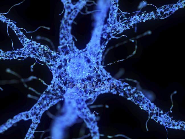 Иллюстрация абстрактного синего технологического сплетения нервных клеток . — стоковое фото
