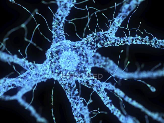 Ilustração da célula nervosa abstrata do plexo tecnológico azul . — Fotografia de Stock