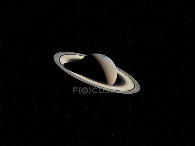 Illustration des saturierten Planeten mit Ringen im schwarzen Raumhintergrund. — Stockfoto