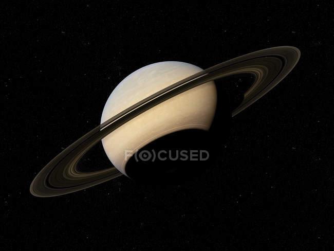 Illustration de la planète Saturne avec anneaux en arrière-plan de l'espace noir. — Photo de stock