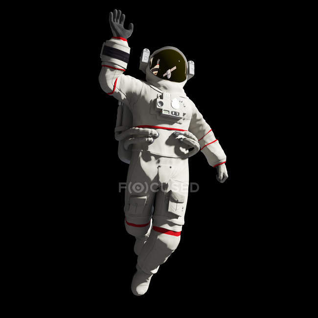 Illustration of astronaut in white spacesuit in space. — Stock Photo