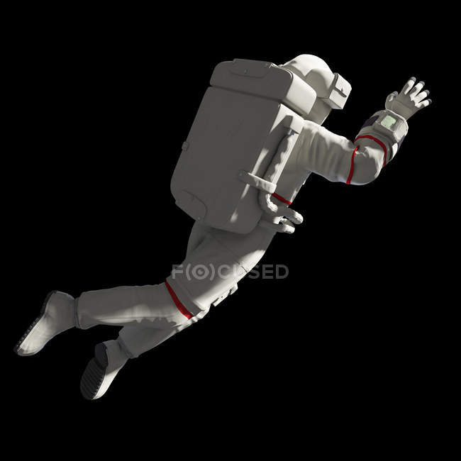 Illustration of astronaut in white spacesuit with satellite reflection in helmet in space. — Stock Photo
