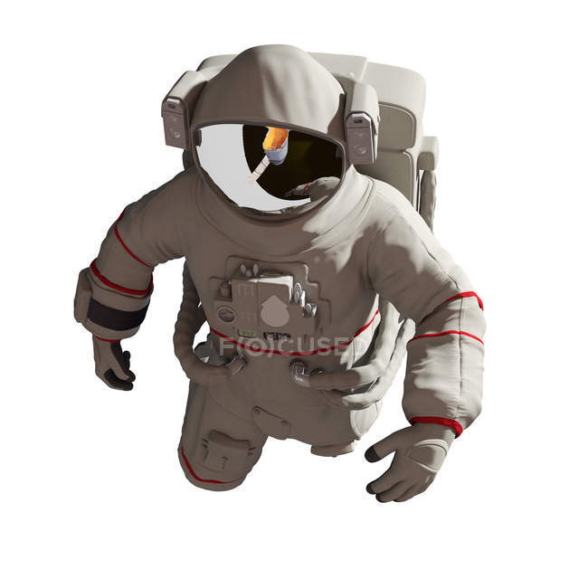 Illustration of astronaut in spacesuit on white background. — Stock Photo