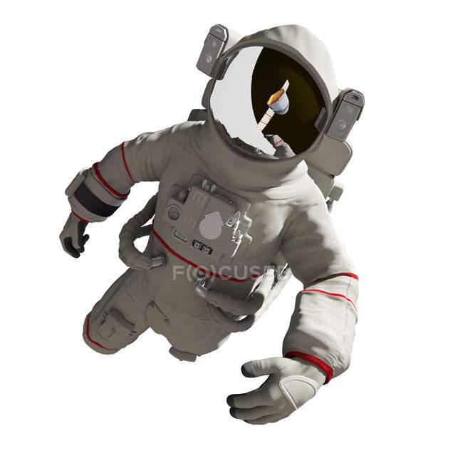 Ilustración del astronauta en traje espacial sobre fondo blanco . - foto de stock