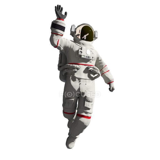 Ilustración del astronauta en traje espacial aislado sobre fondo blanco . - foto de stock