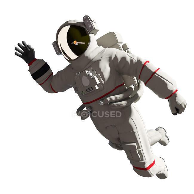 Иллюстрация космонавта в скафандре на белом фоне . — стоковое фото