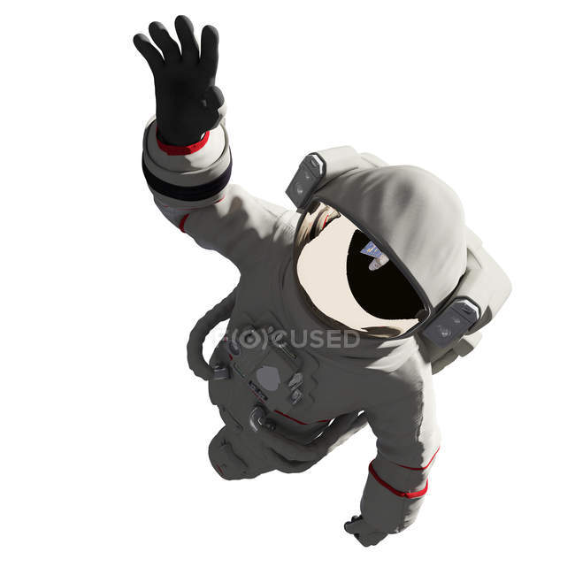Illustration of astronaut in spacesuit isolated on white background. — Stock Photo