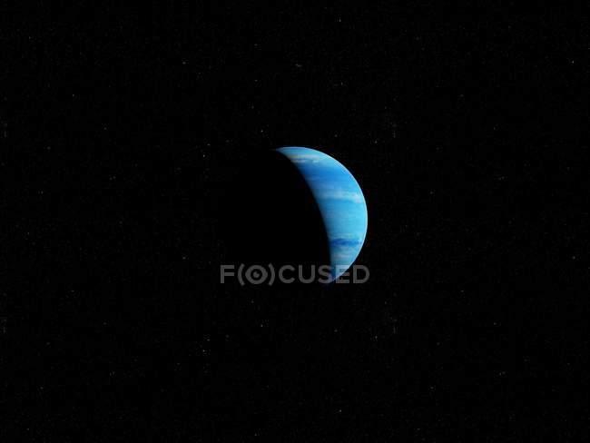 Ilustração do planeta Netuno azul na sombra em fundo preto. — Fotografia de Stock