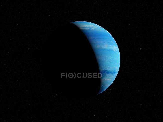Illustration of blue Neptune planet in shadow on black background. — Stock Photo