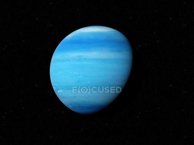 Illustration of blue Neptune planet on black background. — Stock Photo
