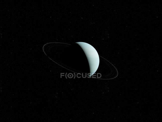 Illustration des Uranus-Planeten im Schatten auf schwarzem Hintergrund. — Stockfoto