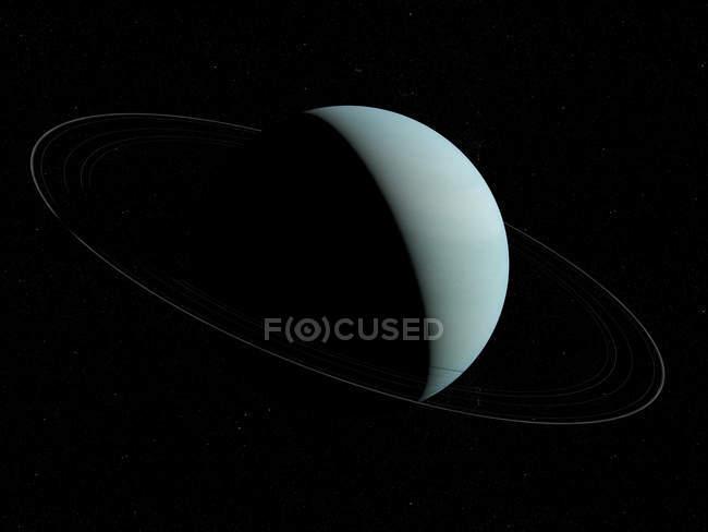 Illustration de la planète Uranus en ombre sur fond noir. — Photo de stock