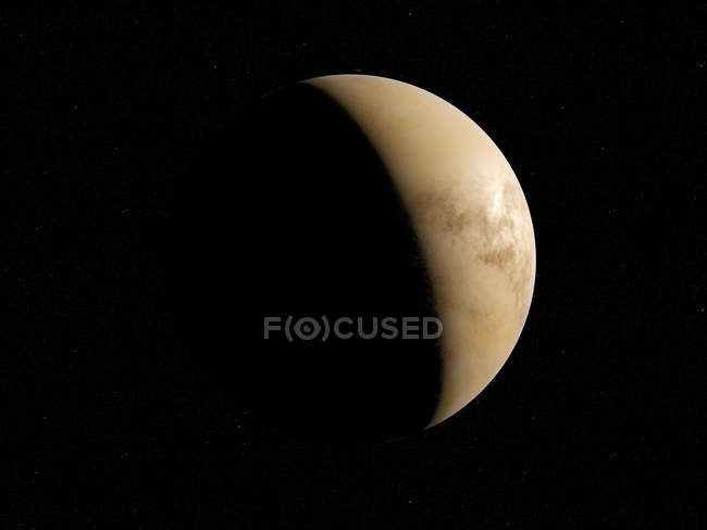 Illustration of Venus in shadow on black background. — Stock Photo