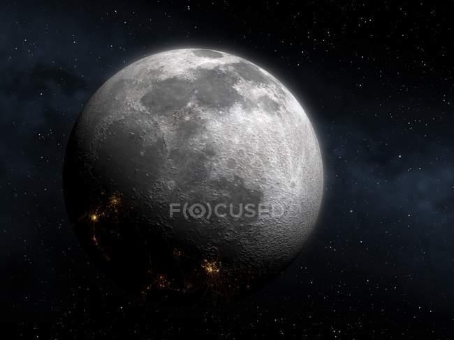 Gesicht des Mondes während der Kolonialisierung mit Städten auf der Nachtseite gesehen. — Stockfoto