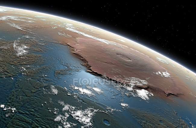 Vision illustration of planet Mars covered in seas and oceans in past towards Tharsis region, showing massive volcano Olympus Mons. — Stock Photo