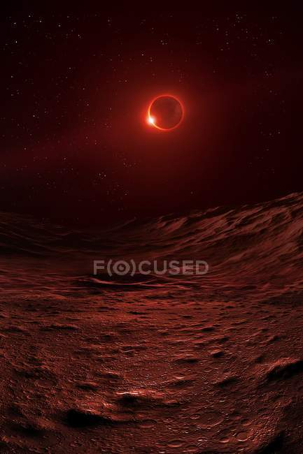 Surface of Moon during lunar eclipse, Sun passing behind Earth, illuminating atmosphere in eerie red and staining lunar landscape. — Stock Photo
