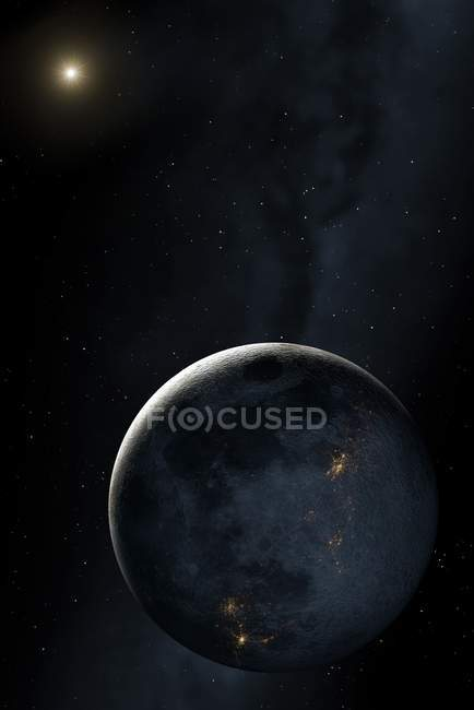 Face of Moon while Colonising with cities seen on night side. — Stock Photo