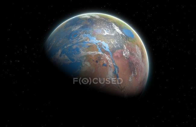 Vision illustration of planet Mars covered in seas and oceans in past with vast canyon system of Valles Marineris, flooded with water. — Stock Photo