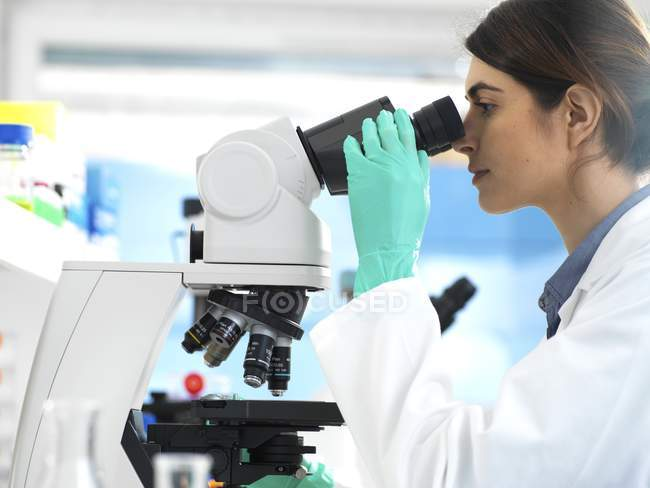 Scientist examining specimen under microscope during clinical trial in laboratory. — Stock Photo