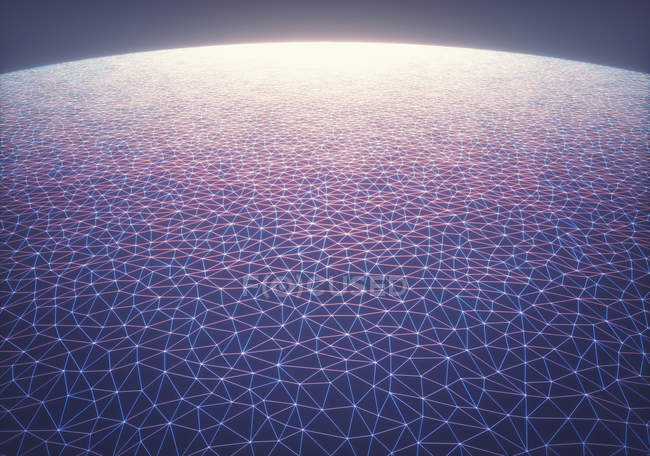 Network mesh with connected lines, digital abstract illustration. — Stock Photo