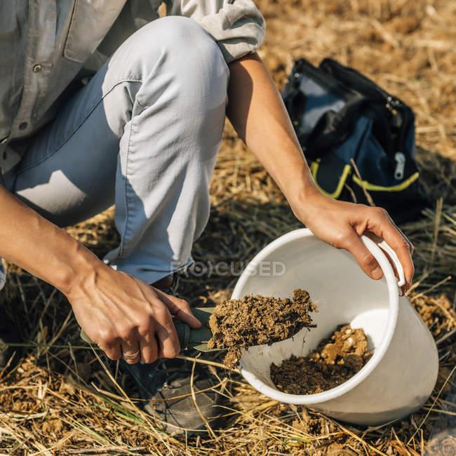 Agronomy specialist taking soil sample for fertility analysis. — Stock Photo