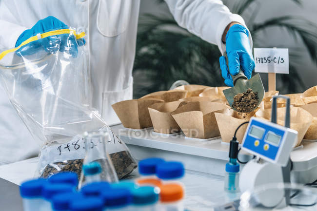 Biologist hands with protective gloves holding trowel with soil above samples separated in containers. — Stock Photo