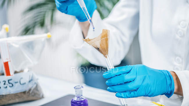 Hands of scientist in laboratory mixing samples of soil with reagent. — Stock Photo