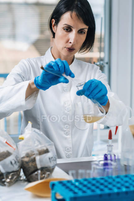 Female scientist pouring dissolved soil sample into chemistry beaker. — Stock Photo