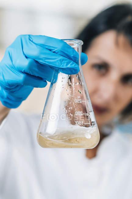 Científica en laboratorio mirando frasco de vidrio con muestras disueltas de suelo . - foto de stock