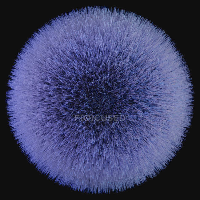 Sphere with spikes against black background, illustration. — Stock Photo