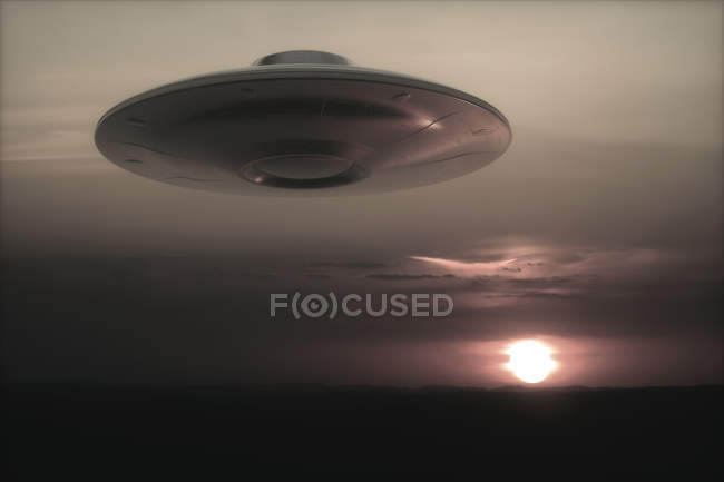 UFO flying in sky at sunset, illustration. — Stock Photo
