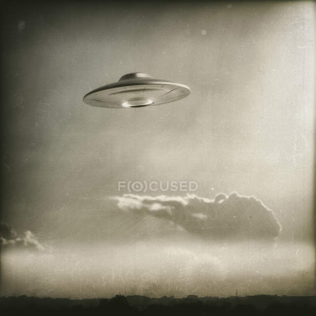 Vintage UFO flying in sky with clouds, illustration. — Stock Photo