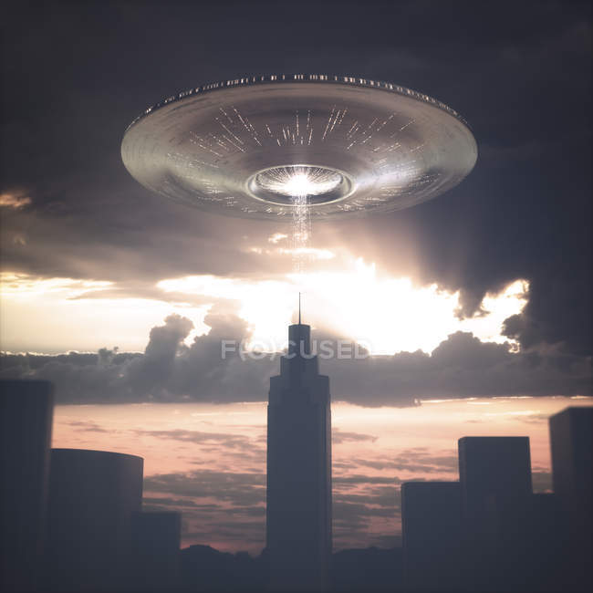 UFO above skyscraper in city at sunset, illustration. — Stock Photo