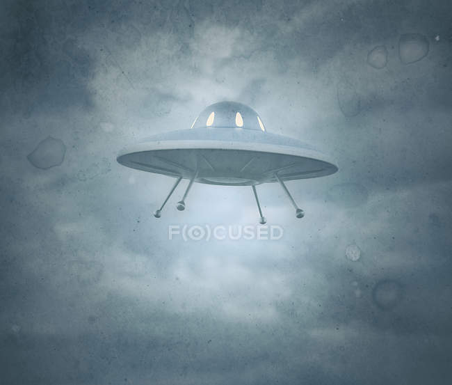 Vintage UFO saucer in cloudy sky, illustration. — Stock Photo