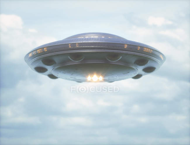 UFO against cloudy sky, digital illustration. — Stock Photo