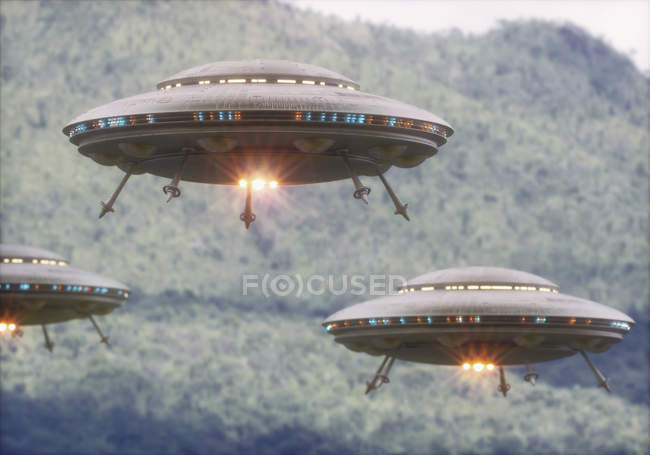 UFOs flying above forest trees, illustration. — Stock Photo
