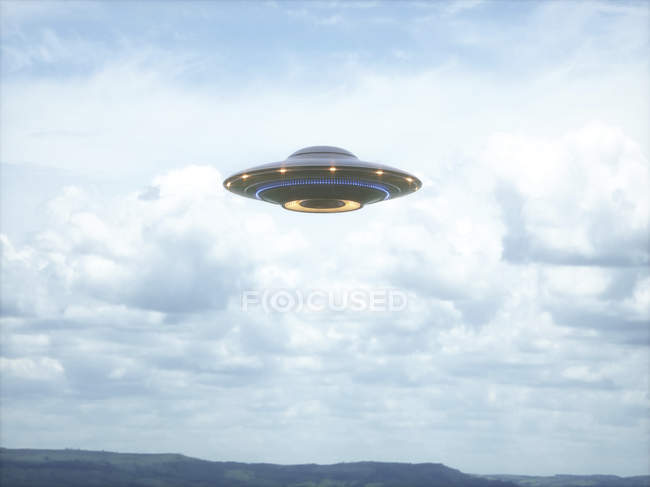 UFO saucer flying in cloudy sky, illustration. — Stock Photo