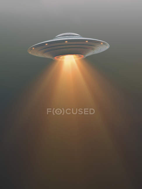 UFO saucer in sky with bright light, illustration. — Stock Photo