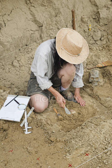 High angle view of archaeologist excavating pottery. — стокове фото