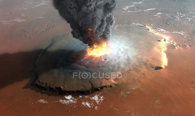 Arte-final da opinião de ângulo elevado em em erupção vulcão do protetor de Olympus Mons na superfície do planeta de Marte. — Fotografia de Stock