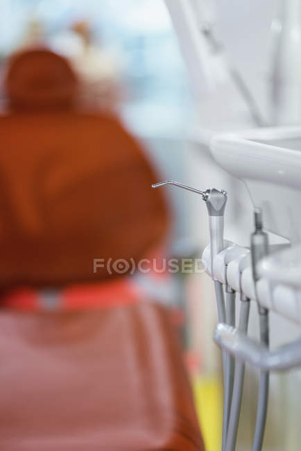 Close-up of dental instruments on rack in medical clinic — Stock Photo