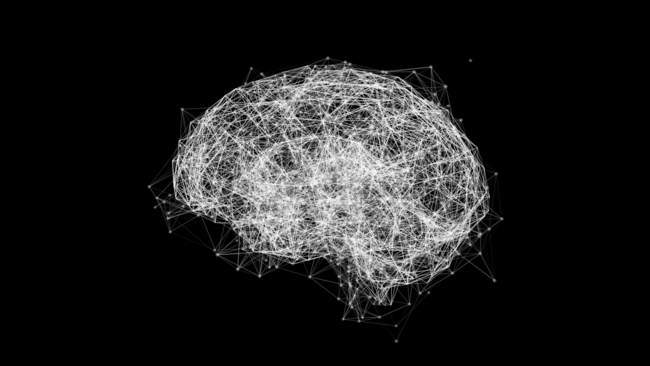 Brain shaped network connected lines and dots, white on black background illustration. — Stock Photo