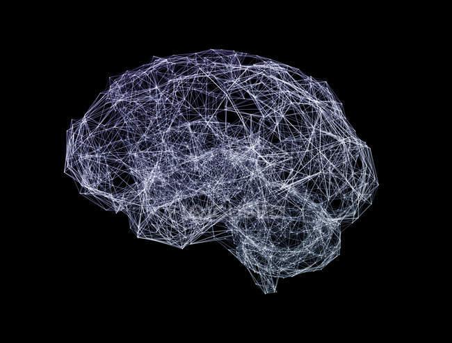 Red en forma de cerebro sobre fondo negro, ilustración digital . - foto de stock