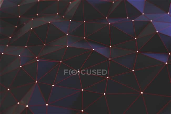 Ilustración conceptual digital de la estructura de la red sobre fondo negro . - foto de stock
