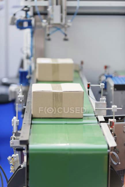 Производственная линия с коробками, движущимися по конвейерной ленте. — стоковое фото