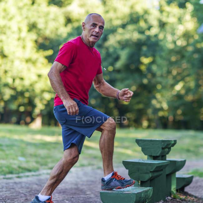 Homem sênior apto que exercita em etapas no parque do verão. — Fotografia de Stock