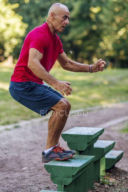 Ajuste o homem sênior que exercita-se em etapas no parque de verão . — Fotografia de Stock