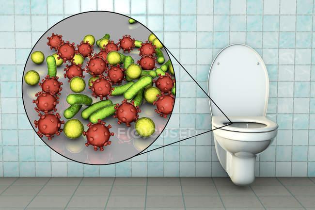 Microbios del inodoro en la superficie del asiento contaminada, ilustración digital conceptual . - foto de stock